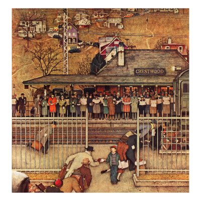 norman-rockwell-commuters-waiting-at-crestwood-train-station-november-16-1946